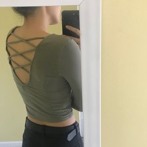 Forever 21 Army Green Strappy-Back Shirt